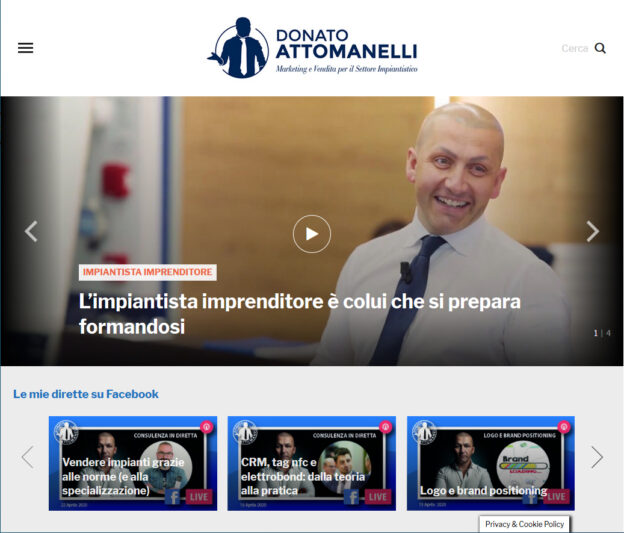 Donato Attomanelli, Marketing per l'impiantista imprenditore